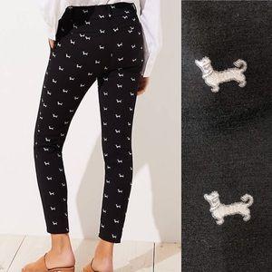 Ann Taylor LOFT Marisa Pants 10 Dachshund Dogs NEW